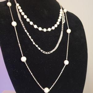 White pearl multi drop necklace